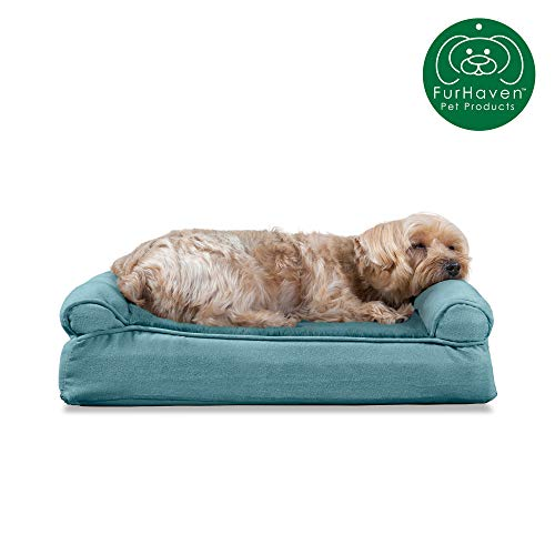 Furhaven Pet Dog Bed | Memory Foam Ultra Plush Faux Fur & Suede Traditional Sofa-Style Living Room Couch Pet Bed w/ Removable Cover for Dogs & Cats, Deep Pool, Small