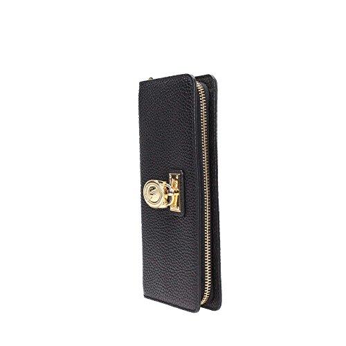 7657eda1a47f3 Michael Kors Hamilton Traveler Large Zip Around Leather Wallet (Black)
