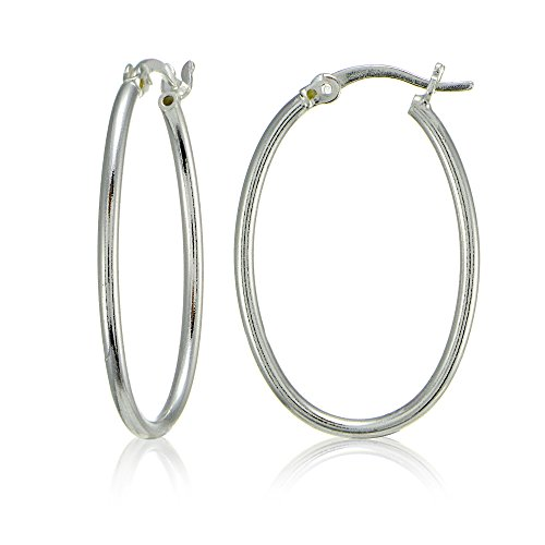 Sterling Silver High Polished Lightweight Dainty Oval Hoop Earrings Oval Loop Earrings