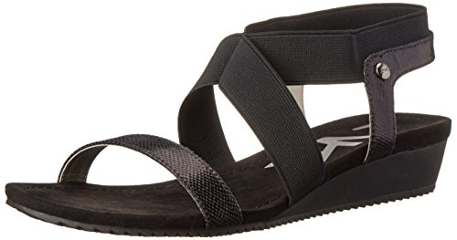 AK Anne Klein Sport Women's Taboo Fabric Wedge Sandal, Black, 8.5 M US