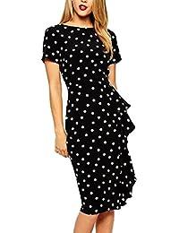 YACUN Women's Vintage Polka Dot Pencil Party Office Dress