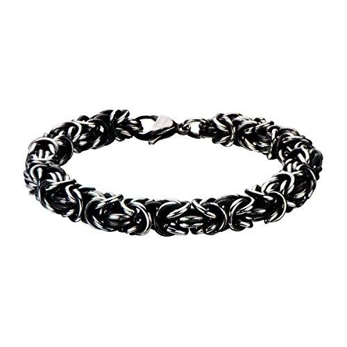 INOX Mens Stainless Steel Black Oxidized Byzantine Chain Bracelet 8 inch Long from INOX