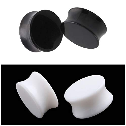 HQLA 2 Pairs White/Black Solid Acrylic Ear Plugs Flesh Tunnels Double Flared Expander Stretcher Piercing Jewelry (2G (6mm))