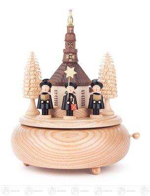 Rudolphs Schatzkiste Music box music box with Seiffener church and Kurrende figures black width x height of x depth 15 cmx20 cmx15 cm Erzgebirge play box play clock