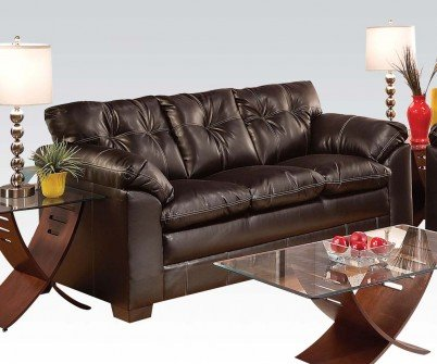 ACME 50355 Hayley Sofa with Premier Chocolate Bonded Leather