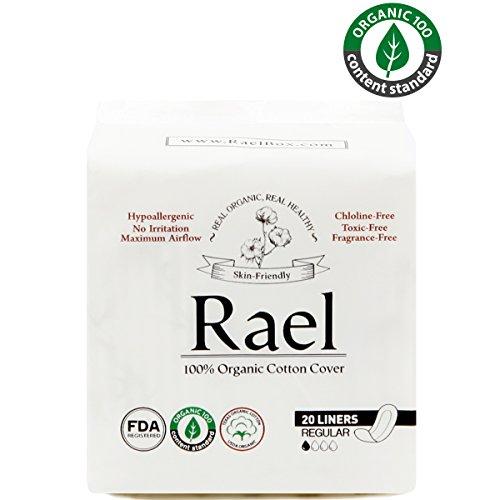 Rael Certified Organic Cotton Panty Liners, Regular - 4Pack/80 total - Unscented Pantiliners - Natural Daily Pantyliners (4 (Panty Liner Regular Cotton)