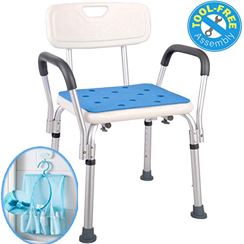 (Medokare Shower Chair with Arms - Shower Seat with Handles for Seniors with Tote Bag and Back, Tall Shower Chair for Elderly, Handicap Tub Shower Seats for Adults (White Chair with Rail) )