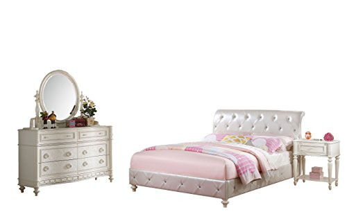 Acme Dorothy 4-Piece Twin Bedroom Set, Pearl White PU & Ivory