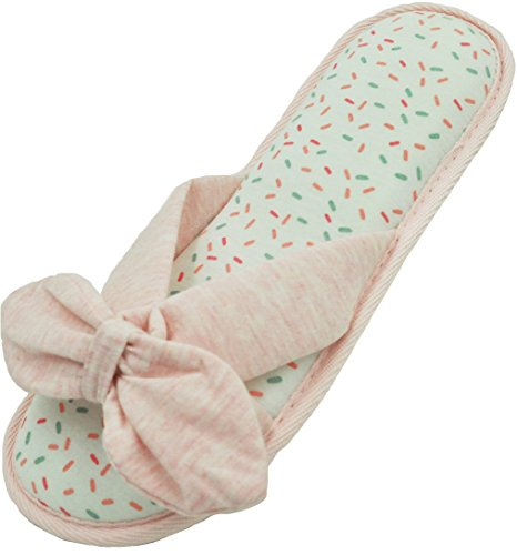Pantofole Da Donna Aperte In Misto Cotone Cachemire Con Grazioso Fiocco Rosa E Bianco