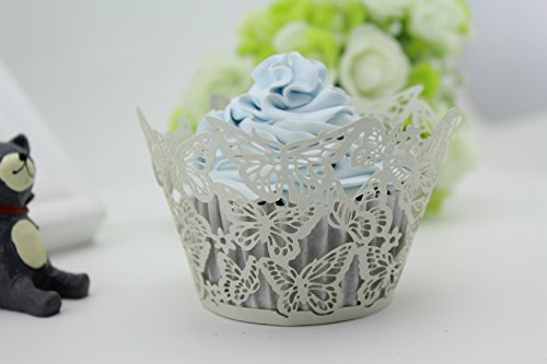 Finex® 100pcs *Butterfly* Wedding Cupcake Liner Wrappers Muffin Wrapper Paper Baking Party Decoration (Silver)