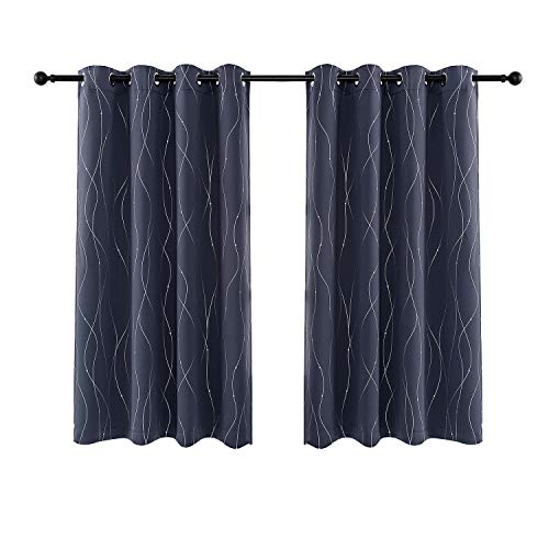 Anjee Eyelet Thermal Insulated Blackout Curtains and Drapes Wave Line with Dots Printed for bedroom living room Children's room Two Matching Tie Backs 46 x 54 inch Midnight Blue