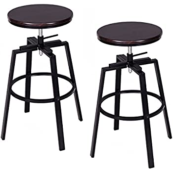 Costway Set Of 2 Vintage Swivel Bar Stool Adjustable Wood Metal Design  Bistro Pub Chair Industrial