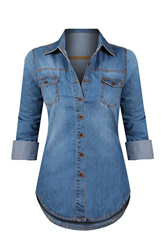 HOT FROM HOLLYWOOD Women's Denim Western Contrast Stitching Button Up Long Sleeve Tunic Top