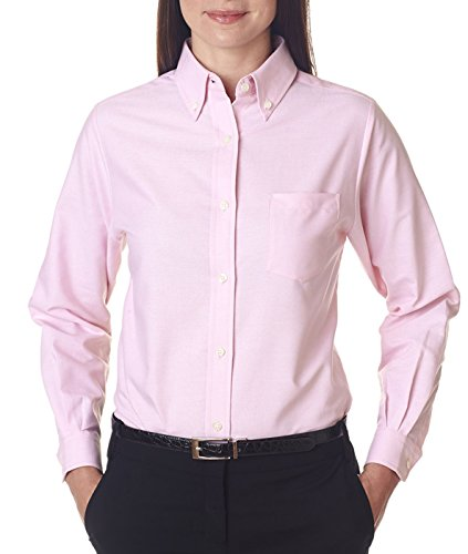 (Ultraclub Ladies Classic Wrinkle-Free Long-Sleeve Oxford 8990 -Pink XS)