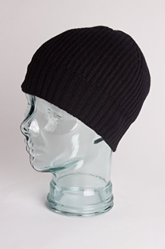 e69129b1644d7 Love Cashmere Mens Ribbed 100% Cashmere Beanie Hat - Black - Made in Scotland  RRP