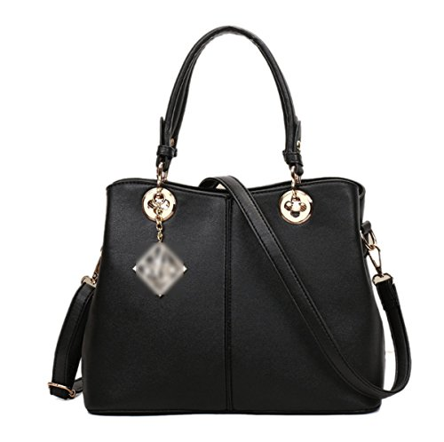 Mujer Vendimia Color Sólido PU cremallera Bolso Cuadrado Solo Bolso De Hombro Bolso Black