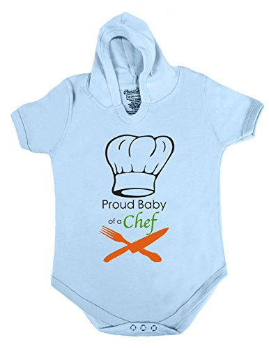 6 HOODIE BABY ROMPER SHORT SLEEVE ONESIE UNISEX PROUD BABY OF A CHEF GIFT POLY BAGGED A&G BRAND (6-12 Months, Light Blue)