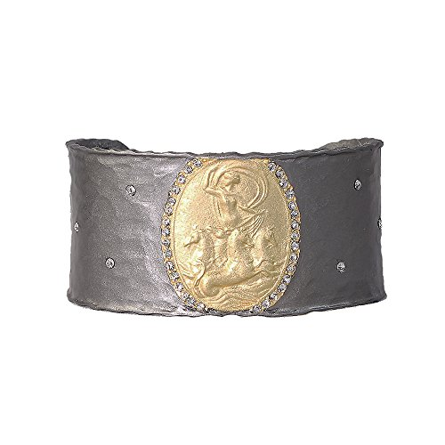 Womens Cuff Bracelet, w/ Pave Circle of Swarovski Crystals and Man on Horse - Ladies Jewelry (Gunmetal Toned) by Be-Je Designs