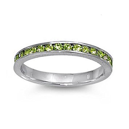 3MM Stackable Full Eternity Wedding Engagement Band Round Simulated Green Peridot 925 Sterling Silver