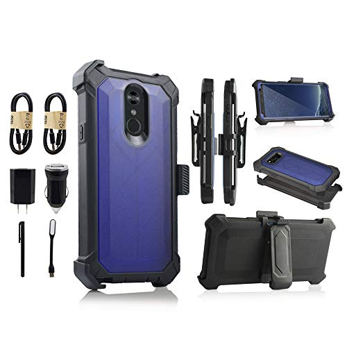 LG Stylo 4 Case, Heavy Duty Holster Armor Case, Shockproof Protection Case Cover with Belt Swivel Clip Kickstand for LG Q Stylo 4 [Value Bundle] (Blue) ()
