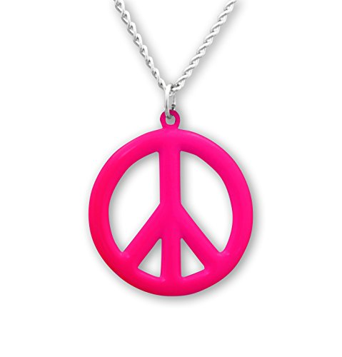 Real Metal Hippie Peace Sign Neon Hot Pink Enamel Pewter Pendant Necklace