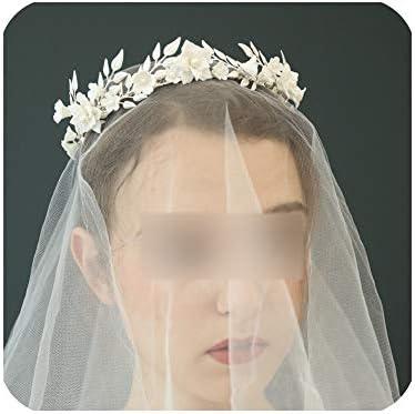 クラウンアンティークシルバーリーフブライダルクラウン繊細な磁器花結婚式ティアラギリシャカチューシャパーティーウエディングヘアジュエリー用花嫁、シルバーメッキ