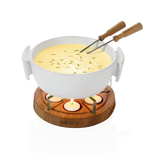 Boska Holland Tea light Fondue Set with Oak Wood Base, 1 L White Stoneware Pot, Life ()