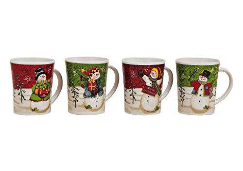 4er Set Weihnachtstassen 11cm, Ø8cm, 350ml, 4 Stk in bunt | Kaffeebecher, Glühweintassen mit Weihnachtsmotiven, Tassen für Weihnachten sind spülmaschinengeeignet