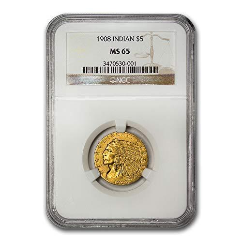 1908 $5 Indian Gold Half Eagle MS-65 NGC G$5 MS-65 NGC
