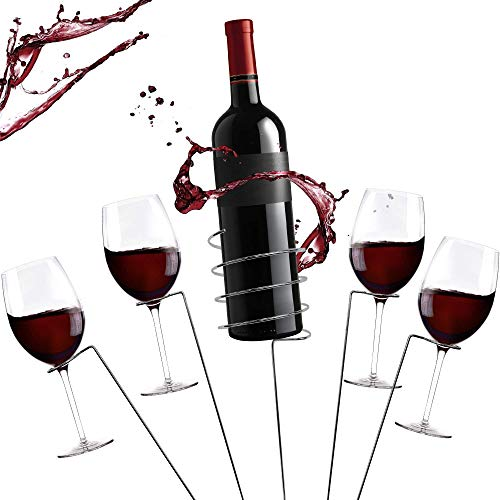 Zatiki picnic Wine Stakes Set - Outdoor Drink Wine Bottle Holder and 4 Wine Glass Holder 5 Piece Set Best Wine Stakes for Wine Lovers (Holder Glass Wine Wine Bottle)