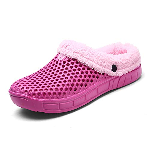 Zcoli Lined Clogs Fur Cotton Garden Slippers for Women Men Couple Indoor Outdoor Slip-on Winter Plush Mules Mesh Warm Breathable House Pink