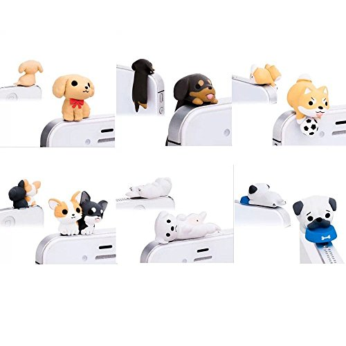 ds Dogs Little Brown Dachshund Greedy Pug Shiba Inu Poodle White Labrador Chihuahua Dog Puppy Dust Plug 3.5mm Smart Cell Mobile Phone Plug Headphone Jack Earphone Cap Ear Cap Dustproof Plug Charm Iphone Plug Charm for Iphone 6 6 Plus 5 5s HTC Samsung S6 Ipad 2 3 4 Mini Ipod Blackberry Sony Nokia Etc (6 PCS) ()