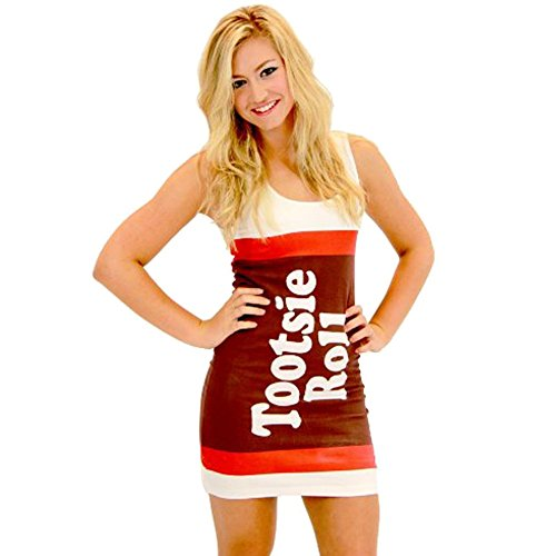 Tootsie Roll Candy White Costume Tank Dress (Juniors Small) ()