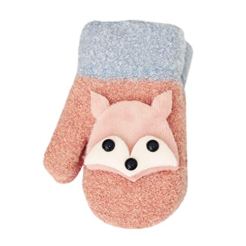 URIBAKE Children's Gloves Chrismas Fox Cartoon Hang Neck Winter Fluffy Thicken Warm Xmas Gift ()
