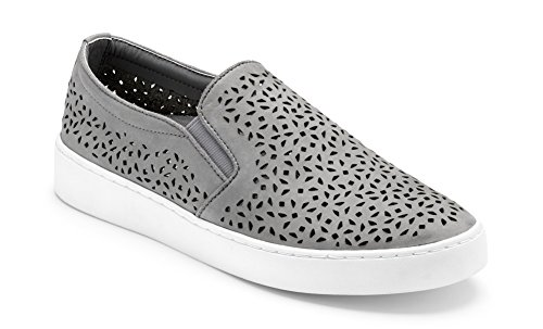 (Vionic Women's Splendid Midi Perf Slip-on - Ladies Sneakers with Concealed Orthotic Arch Support Grey 9.5 M)