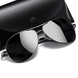 FIREBIRD WITH DEVICE Polarized Aviator Black Sunglasses with TAC Material Sunglasses For Men Latest and Sunglasses For men Stylish Wayfarer Sunglasses for Medium size
