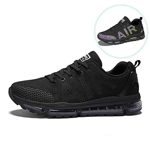 TORISKY Men's Women's Sneakers Lightweight Air Cushion Outdoor Sport Running Walking Shoes(861 BK45) Black