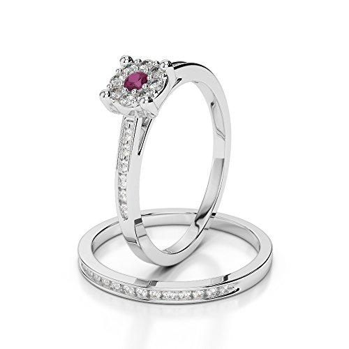 G-H/VS 0,10ct Coupe ronde sertie de diamants Rubis et diamants blancs et bague de fiançailles en platine 950Agdr-1052