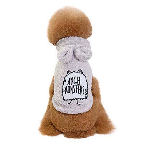 (Lookvv Cartoon Pet Cosplay Halloween Christmas Costume Dog Puppy Hoodie Coat Jacket Velvet Fleece Winter Warm Sweater Gray)