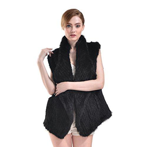 - Vemolla Genuine Knitted Rabbit Fur Cape Coat Vest for Women Black