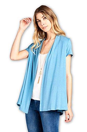 ReneeC. Women's Extra Soft Natural Bamboo Short Summer Cardigan - Made in USA (X-Large, Blueglass)