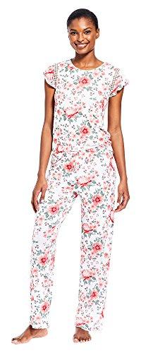 Sleeve 2 Piece Pajamas - Kathy Ireland Women's 2 Piece Cap Sleeve Scoop Neck Shirt Long Pants Pajama Set White Small