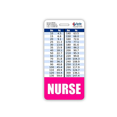 (NURSE Badge Buddy Vertical w/ Height & Weight Conversion Charts (Pink))