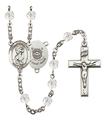 April Birth Month Prayer Bead Rosary with Saint Christopher Coast Guard Centerpiece, 19 Inch (Guard Coast Christopher)