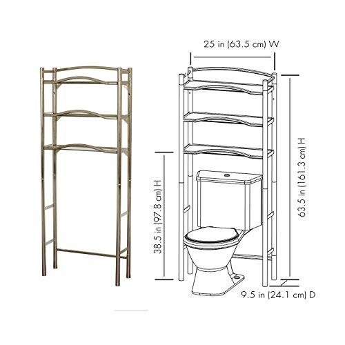 Brushed Nickel Bathroom Shelving Unit: Zenna Home 9070BN, Bathroom Spacesaver, Extended Height
