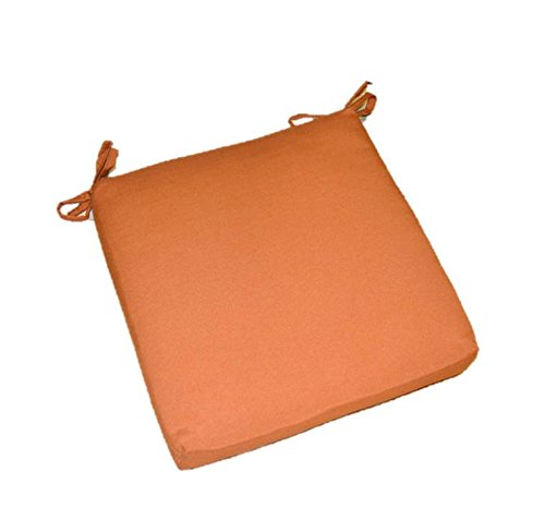 "Indoor / Outdoor Solid Rust / Clay / Pottery / Burnt Orange Universal 2"" Thick Foam Seat Cushion with Ties for Dining Patio Chair - Choose Size (21"" x 20"")"