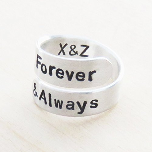 Personalized forever and always ring w initials - couple