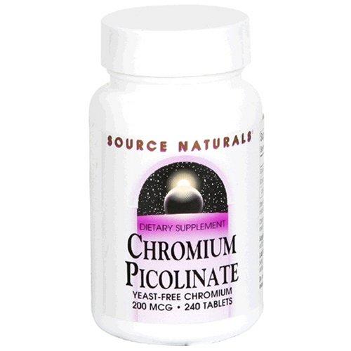 Source Naturals picolinate de chrome, 200mcg, 240 Tablets (Pack de 2)