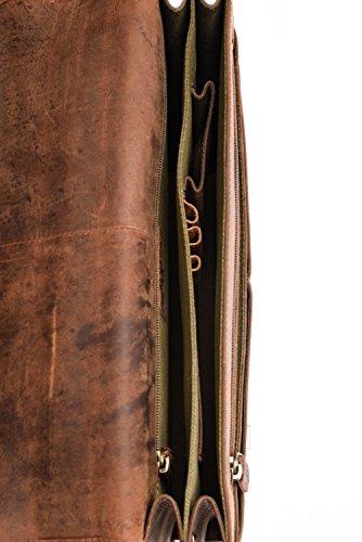LEABAGS Oakland Aktentasche aus echtem Büffel-Leder im Vintage Look - Muskat Muskat
