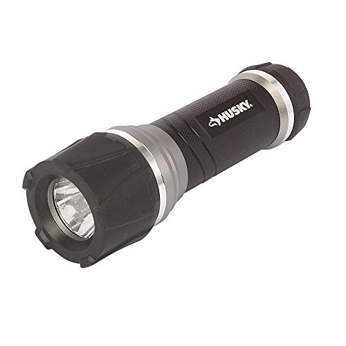 Husky 165 Lumen Cree LED Virtually Unbreakable Aluminum Flashlight with 3 modes of operation, High Low and Strobe Functions, 30ft Shock Resistant Rubber Protection